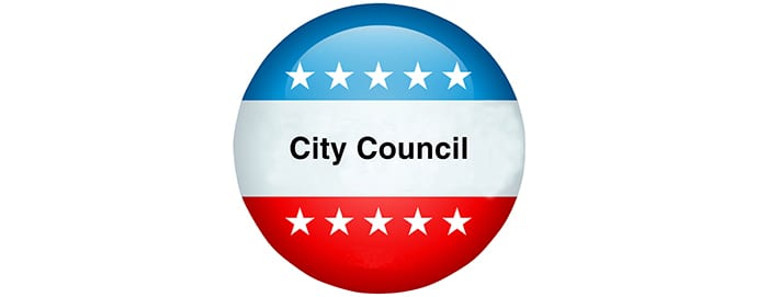 Red, white, and blue button with City Council on it
