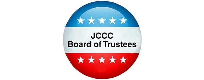 Red, white, and blue button with JCCC Board of Trustees on it